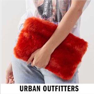 NWT Mod Fuzzy Faux Fur Retro Clutch